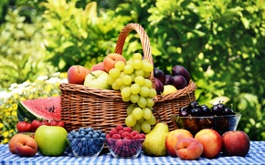 Picture cherry, berries, raspberry, table, basket, apples, watermelon, blueberries, strawberry, plate, grapes, fruit, peaches, plum, pear, …