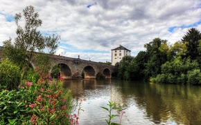 Picture the sky, clouds, trees, flowers, bridge, river, tower, Germany, support, arch, Limburg an der Lahn