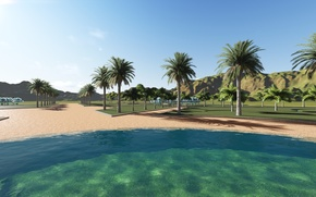 Picture sand, water, landscape, Park, palm trees, visualization, render