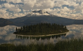 Picture trees, nature, lake, island, mountain, art, building