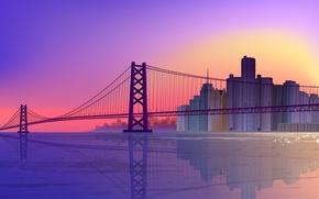 Picture bridge, reflection, vector