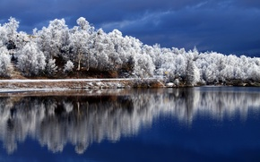 Wallpaper winter, the sky, trees, reflection, river, blue