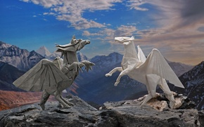 Picture paper, horse, dragon, wings, origami