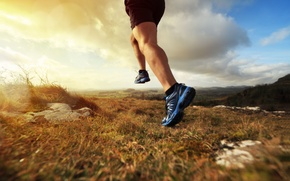 Wallpaper runner, physical activity, sports shoes, field
