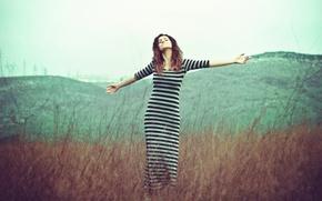 Picture field, girl, fog, morning, dress