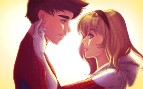 Picture girl, pair, guy, relationship, Spider-Man, Peter Parker, gwen stacy, Edge of Spider-Verse