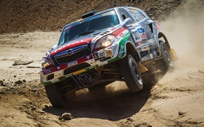 Picture Sand, Sport, Race, Opel, Opel, Rally, Dakar, SUV, Rally, The front