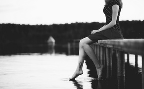 Picture sea, girl, river, background, Wallpaper, feet, mood, water. black and white