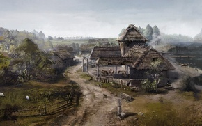 Picture home, village, art, game, The Witcher, The Witcher 3: Wild Hunt
