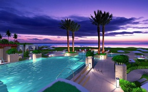 Picture palm trees, the ocean, the evening, pool, resort