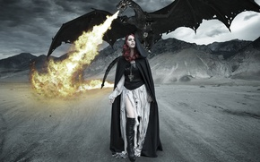 Picture mountains, fire, dragon, Girl