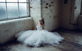 Wallpaper girl, dress, window, the bride, on the floor, wedding dress