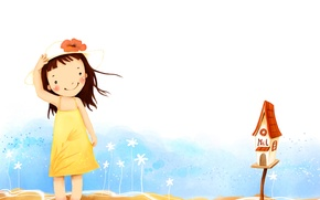 Picture flowers, smile, the wind, dress, girl, hat, baby Wallpaper, Inbox