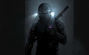 Picture weapons, lights, costume, helmet, Jango Fett