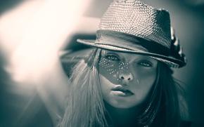 Picture look, portrait, hat, bokeh