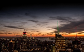 Picture the sky, clouds, sunset, orange, the city, lights, view, building, home, New York, skyscrapers, the ...