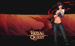 Picture girl, sword, red background, Royal Quest, Katauri Interactive