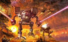 Picture fire, robot, war, explosions, battle, battletech