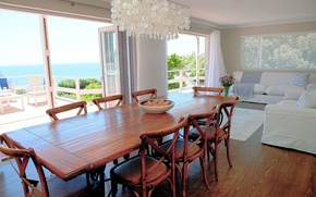 Picture house, interior, lounge, sea view, dining area