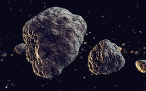 Picture space, universe, rocks, meteors