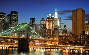 Wallpaper skyscrapers, Brooklyn Bridge, Brooklyn bridge, NYC, New York City, New York, lights, night, USA