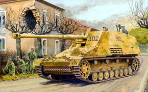 Picture war, art, painting, tank, ww2, tank, Sd.Car.164 Hornisse