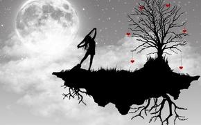 Wallpaper tree, vector, the moon, girl