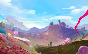 Picture hills, art, track, lollipops, painted landscape