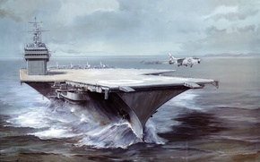 Wallpaper sea, wave, water, figure, art, the rise, aircraft, USS, advanced, Saratoga, CV-60, fighter., The Mediterranean, ...