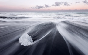 Picture sea, beach, ice, Iceland