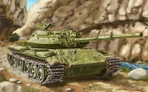 Picture art, tank, Soviet, average, Nakamoora, T-62M