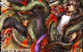 Picture dragon, anime, art, guy, Touken ranbu