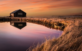 Picture grass, sunset, water, reflection, barn, marsh