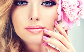Picture flower, look, girl, face, smile, makeup