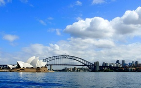 Picture sea, the sky, clouds, bridge, the city, panorama, theatre, Sydney