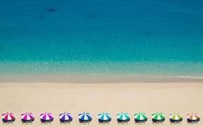 Picture beach, Greece, Rainbow Umbrellas