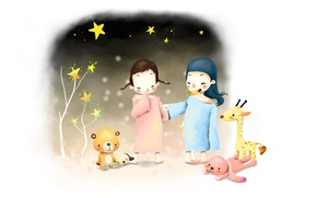Picture children, girls, toys, figure, hare, stars, giraffe, bear, puppy, braids, smile