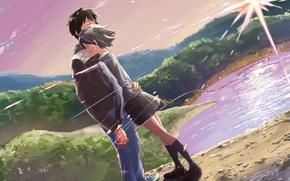 Picture landscape, romance, anime, hugs, two, Kimi no VA On, Your Name