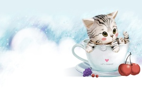 Picture art, mug, kitty