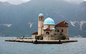 Picture mountains, coast, island, Cathedral, temple, the monastery, Montenegro, Monastery of Saint George