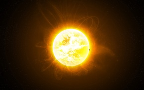 Wallpaper the sun, space, planet, stars, crown, prominences