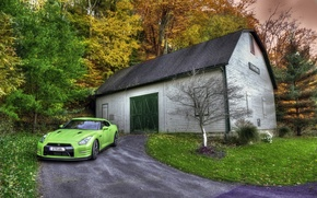 Wallpaper Car, Photo, Japan, Green, Shed, GTR, Nissan, Front, Wood, HDR, R35