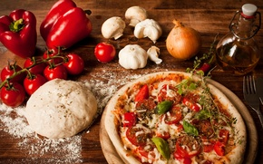 Picture pepper, tomatoes, Bulgarian, oil, flour, the dough, dish, pizza, cheese, pizza, garlic, mushrooms, bow