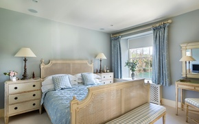 Picture flowers, lamp, bed, pillow, table, bedroom, chest