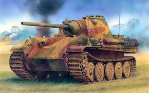 Picture Figure, Panther, Panther, PzKpfw V, German, Sd. Car. 171, Design F, Panzerkampfwagen V, Medium-heavy tank, …