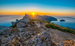 Picture sea, sunrise, rocks, dawn, Spain, Spain, Cape, The Mediterranean sea, Majorca, Mallorca, Mediterranean Sea, Cap …
