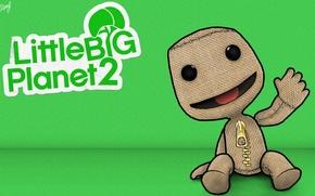 Picture background, cartoon, figure, green, ps3, Little Big Planet 2, LBP2