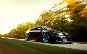 Picture car, subaru, in motion, wrx, impreza, speed