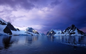 Picture snow, sunset, mountains, the ocean, glacier, Antarctica