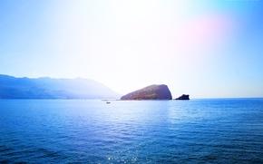 Picture sea, summer, the sky, water, the sun, mountains, island, Montenegro, Budva, SV Nikola, Becici, island. ...